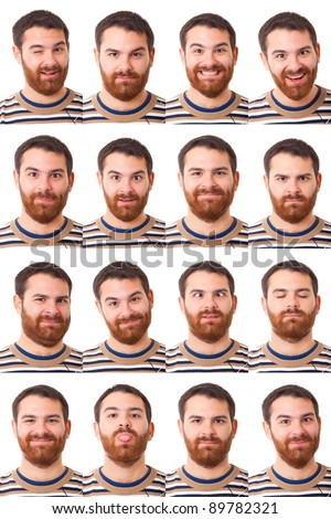 Man Portrait, Collection of Expressions - stock photo