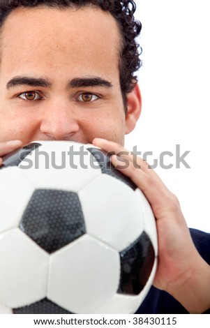 Man portrait with a football isolated over white
