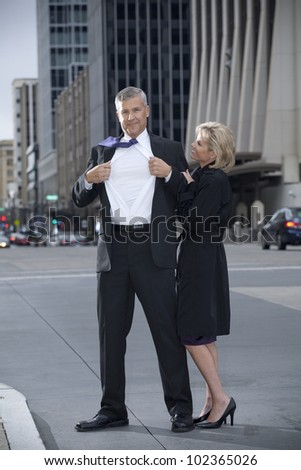 Man Posing as a Super Hero - stock photo