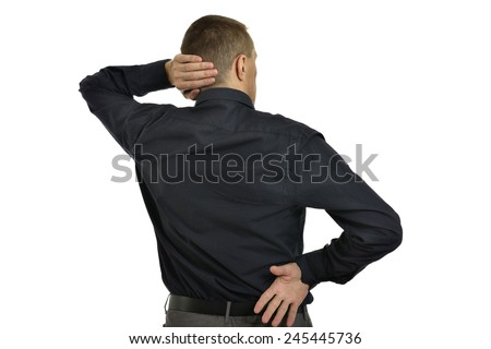 Man posing in coat ,full length ,back view on a white background - stock photo