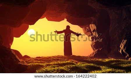 Man praying in the cave. - stock photo