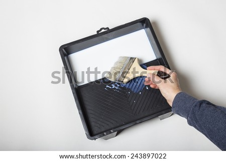 Man preparing to paint the wall dipping the brush into the paint by hand  - stock photo