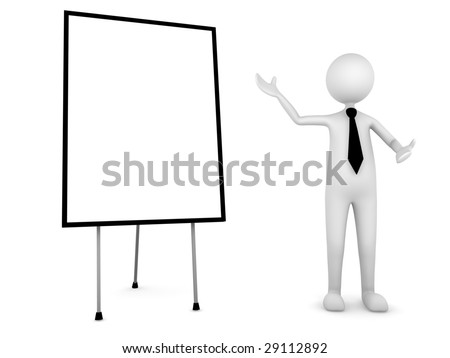 Man presenting your information on board - stock photo