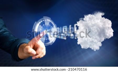 man pressing a button sending data into the cloud - stock photo