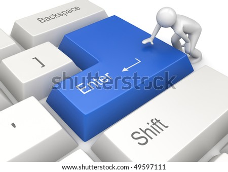 Man pressing blue ENTER key (3d isolated on white background characters series) - stock photo