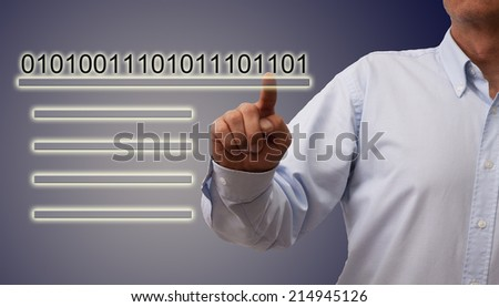 man pressing button