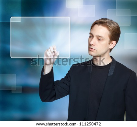 Man pressing modern virtual touch screen buttons with a blue background