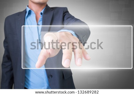 Man Pressing On Blank Screen