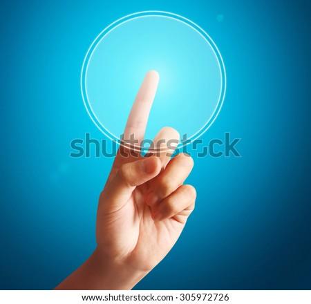 man pressing  touchscreen button - stock photo