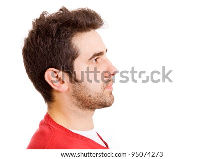 Man profile face over white background. Space to insert text. - stock photo