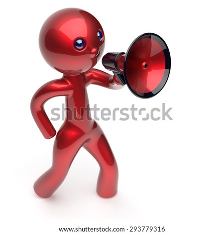 Man promotion speaking megaphone character stylized making sale advertisement announcement news red human cartoon guy speaker person communication people shout figure icon concept 3d render - stock photo