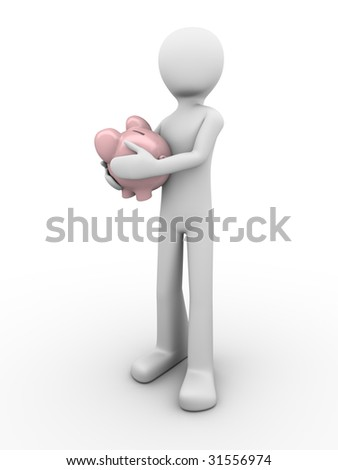 man protects savings holds piggybank in hands - stock photo