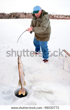 Man Pulling a Big Pike From Under the Ice - stock photo