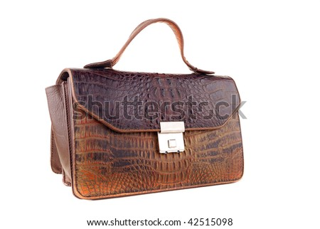 Man purse for carrying over of money and documents on a white background. - stock photo