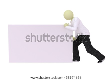 Man push banner on white background
