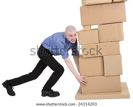 Man push pile from cardboard boxes on white - stock photo