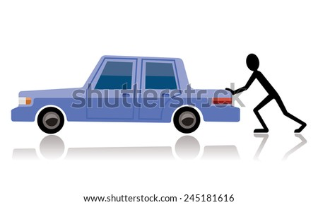 man pushing broken car