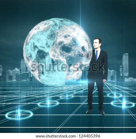 man pushing to interface abstract earth - stock photo