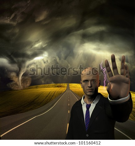 Man puts hand out to stop before tornado and storm - stock photo
