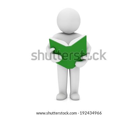 man read book - stock photo