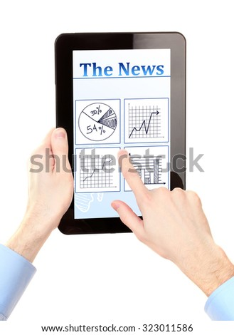 Man reading business news on tablet PC, isolated on white - stock photo