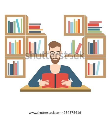 man reading in library. flat illustration. hipster modern style. geek with beard and glasses - stock photo
