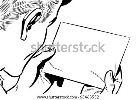 Man reading note - stock photo