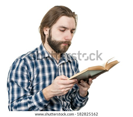 man reading the book - stock photo