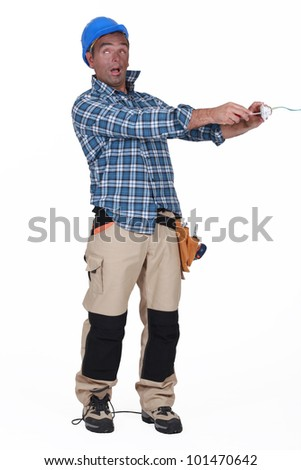 Man receiving electric shock