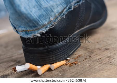 Man refuses to smoking - stock photo