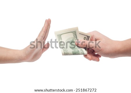man refusing money offered by man isolated on white backgound - stock photo