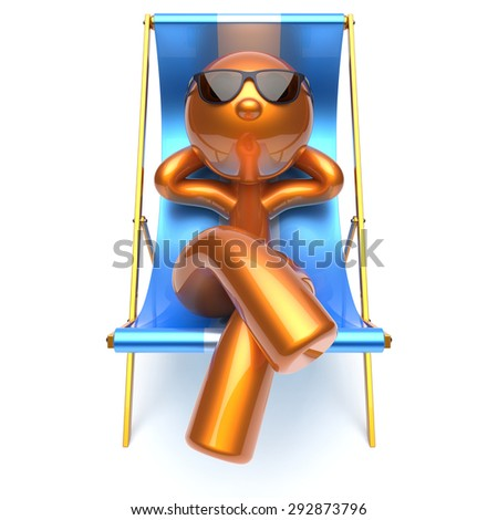 Man relaxing chilling beach deck chair sunglasses summer comfort cartoon stylized golden character sun lounger chaise lounge tourist person sunbathing rest vacation harmony icon 3d render isolated - stock photo
