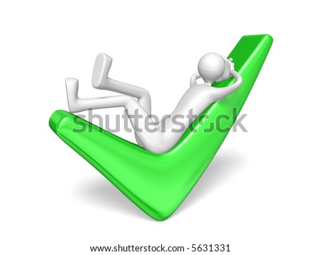 man relaxing on green tick, isolated