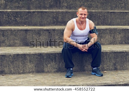 Man resting after jogging.