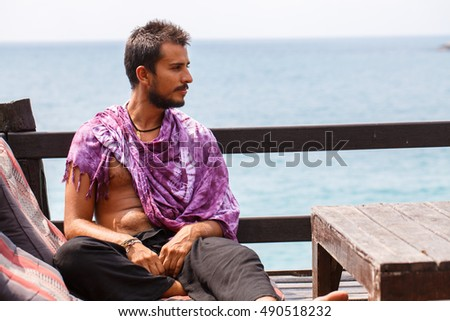 Man resting on the sea