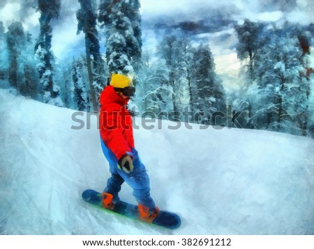 Man rides on a snowboard, among the trees. Winter resort, snow forest.