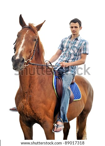 Man riding a horse isolated - stock photo
