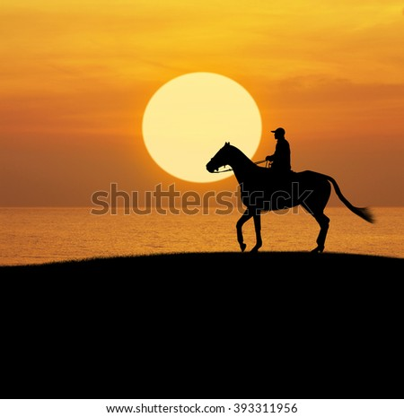 Man riding horse over sunset sky and sea