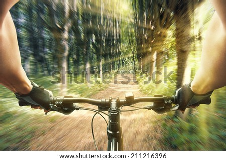 Man riding on a bicycle in forest - stock photo