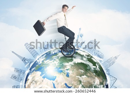 "Man riding unicycle around the globe with major cities concept, """"Elements of this image furnished by NASA"""" - stock photo"