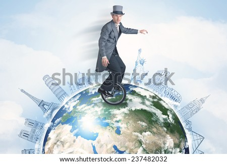 "Man riding unicycle around the globe with major cities concept ""Elements of this image furnished by NASA"" - stock photo"