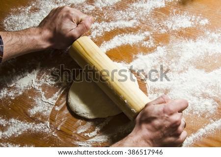 Preparation Dough Dough Rolling Womens Hands Stock Photo