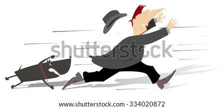 Man run away from angry dog - stock photo