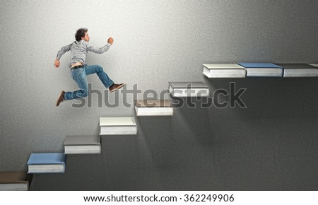 man run on 3d abstract books stair