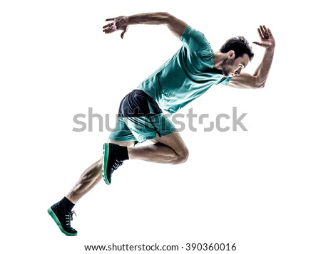 man runner jogger running  isolated - stock photo