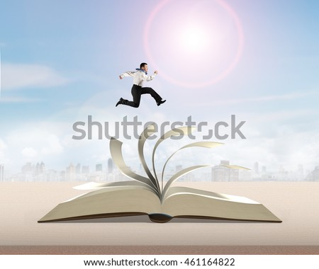Man running and jumping on flipping pages top of open book on wooden table with city view background in sunny day, 3D rendering