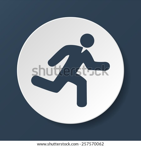 man running icon on white background  - stock photo