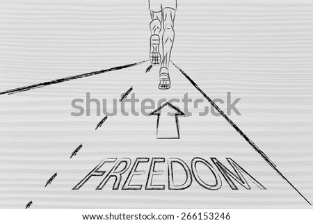 man running on a road with directions towards freedom, concept of reaching your goals