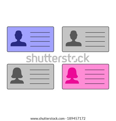 man's and woman's id cards - stock photo