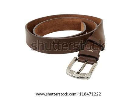 Man's belt on white background - stock photo